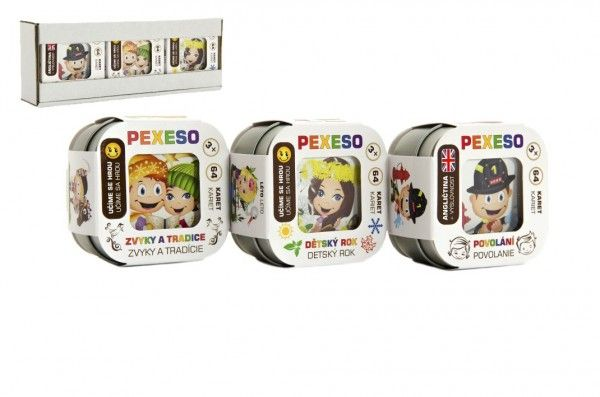 Pexeso 3ks společenská hra v krabičce 8x21x4cm Hmaťák