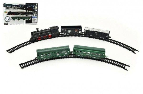 Vlak s kolejemi plast 19ks na baterie se světlem v krabici