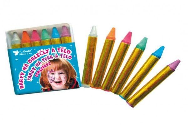 Barvy na obličej a tělo 6ks perleťové v sáčku 6x7cm karneval