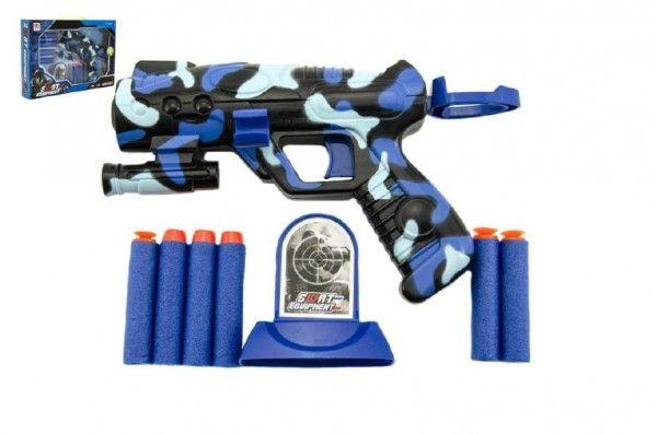 Pistole na pěnové náboje plast 16cm v krabici 29x20x4cm