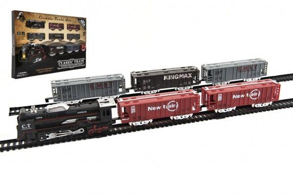 Vlak + 5 vagónů s kolejemi plast 140x68cm na baterie se světlem v krabici 57x37x4cm