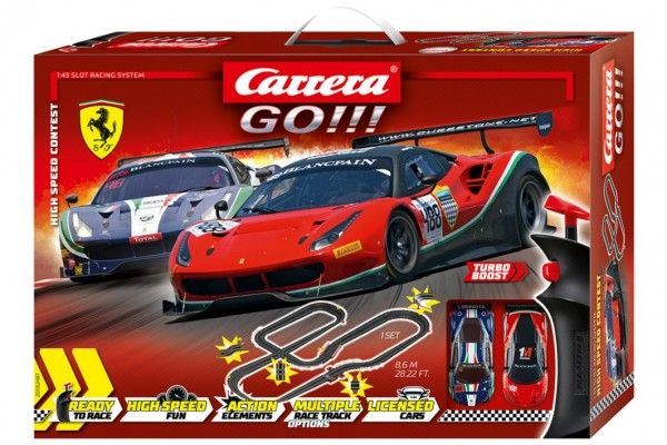 Autodráha Carrera GO!!! 62487 High Speed Contes 8,6m + 2 auta v krabici 58x40x12cm