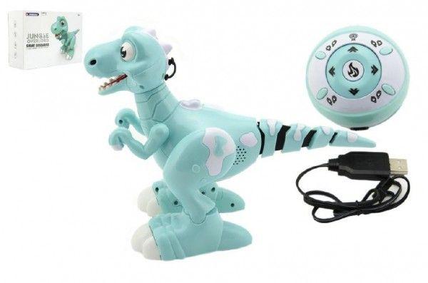 Dinosaurus RC chodící a tancující plast 30cm na baterie se světlem se zvukem v krabici 40x