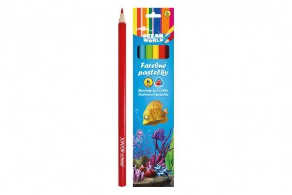 Pastelky barevné dřevo Ocean World trojhranné 6 ks v krabičce 4,5x20x1cm 24ks v krabici