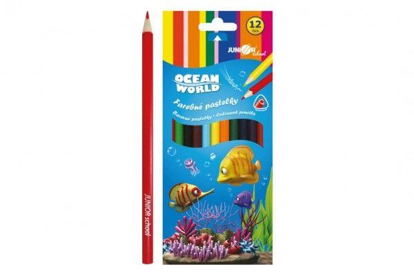 Pastelky barevné dřevo Ocean World trojhranné 12 ks v krabičce 9x20,5x1cm 12ks v krabici