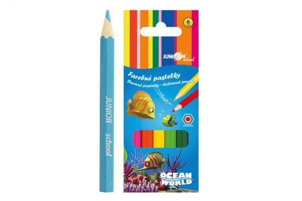 Pastelky barevné dřevo krátké Ocean World šestihranné 6 ks v krabičce 4,5x11x1cm 24ks v kr