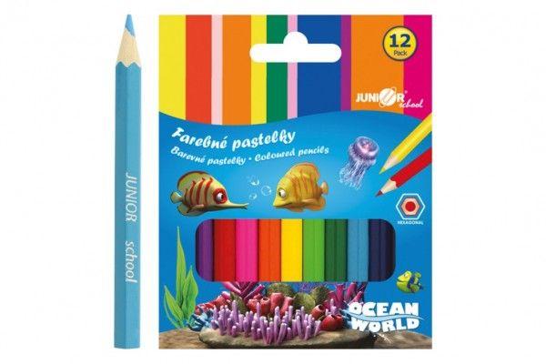 Pastelky barevné dřevo krátké Ocean World šestihranné 12 ks v krabičce 9x11,5x1cm 12ks v k