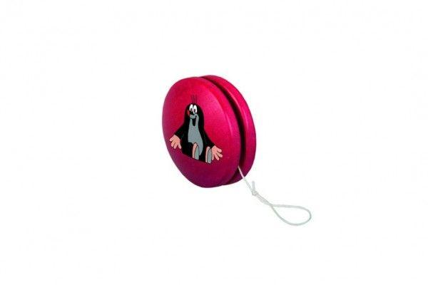 Jojo červené dřevěné s krtkem sedícím v sáčku