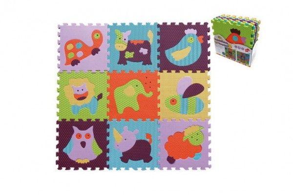 Pěnové puzzle zvířátka mix barev 9 ks 32 x 32 x 1 cm