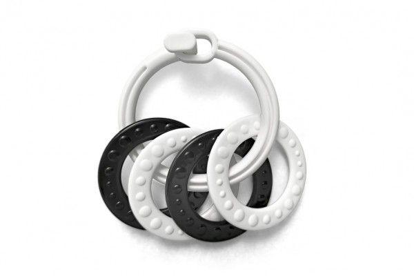 Kroužky se 4 tvary plast černobílé 2 druhy v sáčku 0 m+
