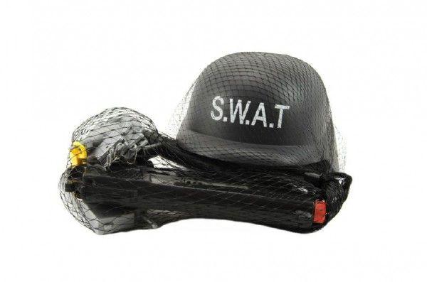 Sada SWAT helma + pistole na setrvačník s doplňky
