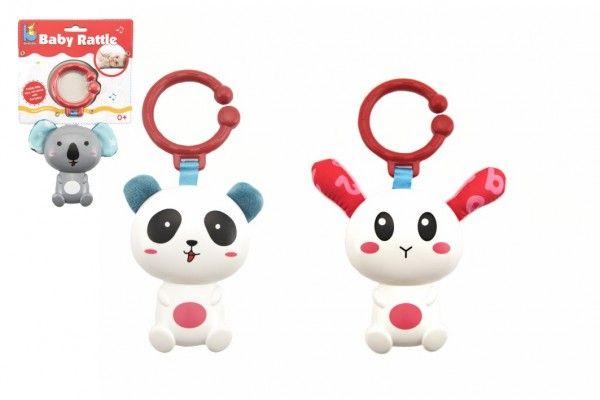 Chrastítko panda/zajíc/koala plast 18cm mix barev 0m+