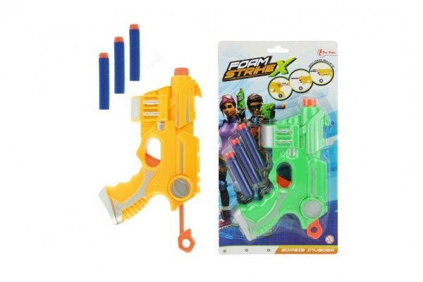 Pistole s pěnovými náboji 3 ks plast 20 cm 2 barvy na kartě