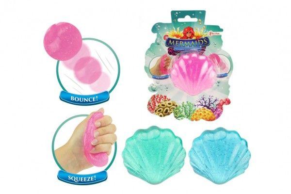 Sliz - hmota třpytivá mušle 7cm 3 barvy v plastové krabičce na kartě