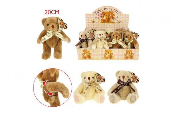 Medvěd plyšový 20 cm kloubový 3 barvy 9 m+