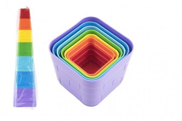 Kubus pyramida skládanka plast hranatá barevná 7 ks v sáčku
