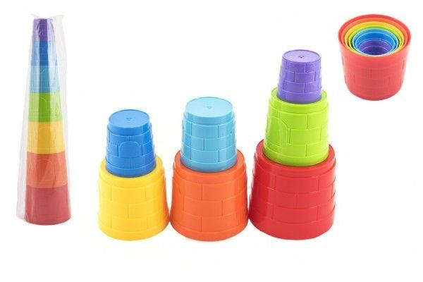 Kubus pyramida skládanka plast kulatá barevná 7 ks v sáčku