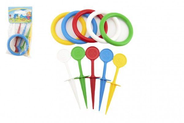 Hra házecí kroužky a kolíky plast 22 cm v sáčku