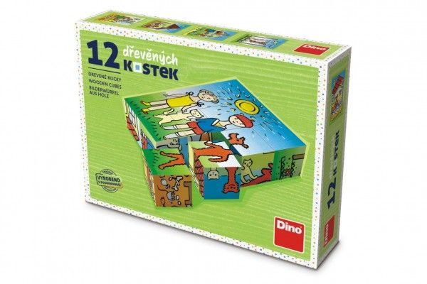 Kostky kubus Pejsek a kočička dřevo 12 ks