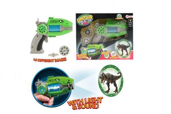 Pistole projekční dinosaurus plast 16cm na baterie se zvukem a světlem v krabici 24x19x6cm