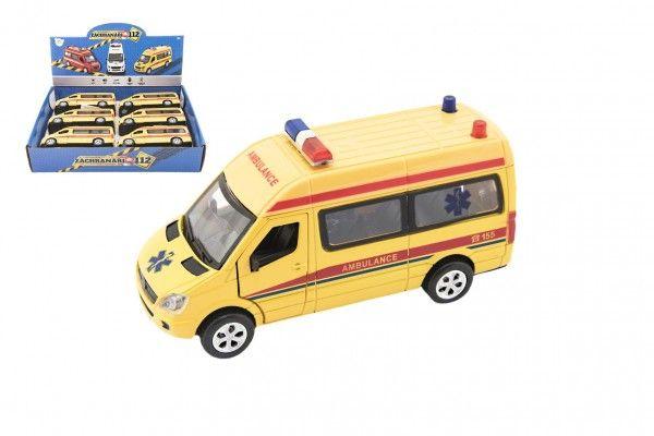 Teddies Auto ambulance kov/plast 15cm na baterie se světlem se zvukem na zpětné natažení 6ks v boxu