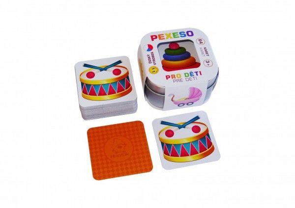 Pexeso Pro děti 64 karet v plechové krabičce 6x6x4cm Hmaťák