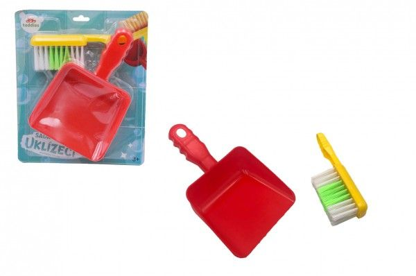 Uklízecí sada/uklízečka plast smetáček + lopatka na kartě