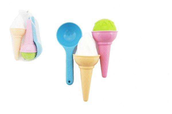Formičky Bábovky na písek plast zmrzlina 3 ks v síťce 12 m+