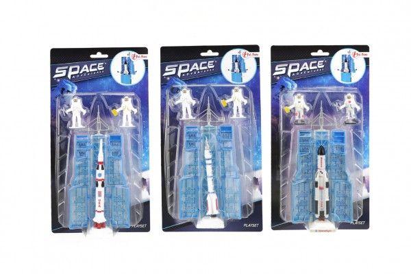 Raketoplán/raketa 12 cm plast s kosmonauty 2 ks