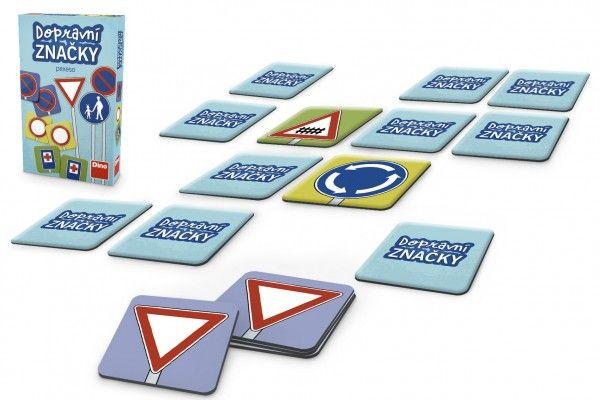 Pexeso Dopravní značky společenská hra 48 ks v krabičce