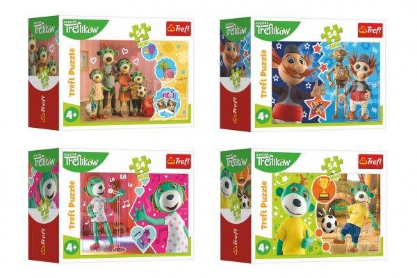 Minipuzzle 54 dílků Veselý svět Trefliků 4 druhy v krabičce