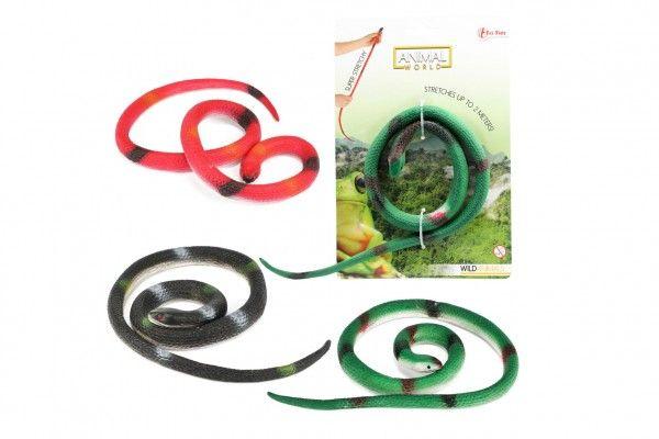 Had gumový natahovací 32 cm 3 barvy na kartě 15 x 23 cm