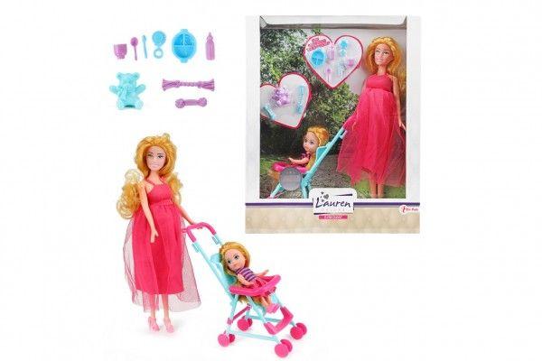 Teddies Panenka těhotná pevné tělo kloubová plast 28 cm s dítětem v kočárku s doplňky 25x31x7,5 cm
