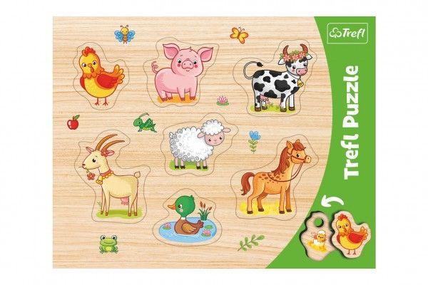 Vkládačka/Puzzle obrysové zvířátka farma 37x29 ve fólii