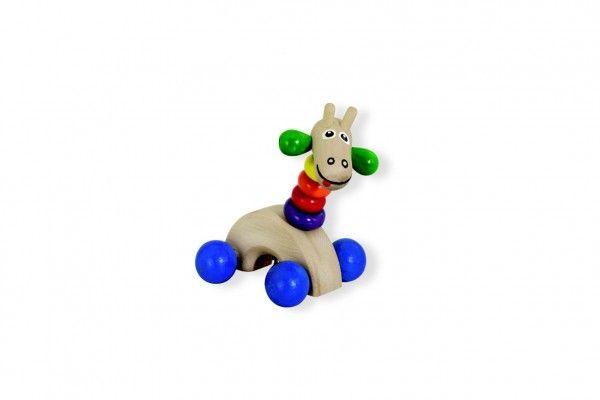 Žirafa na kolečkách dřevěná 8x12cm s rolničkou na kartě 12m+