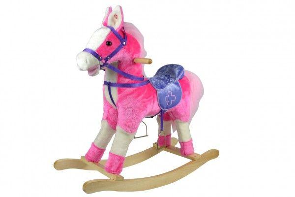 Houpací kůň růžový na baterie - 71 cm
