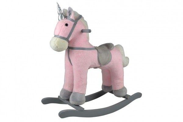 Teddies Kůň houpací růžový jednorožec plyš na bat. 71cm se zvukem a pohybem nosnost 50kg