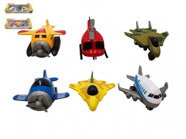 Letadlo 3ks kov/plast 6,5cm na zpětné natažení