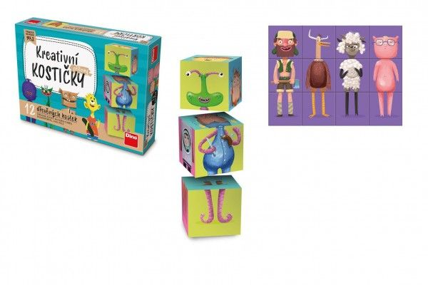 Kostky kubus Příšerky dřevo 12 ks v krabičce