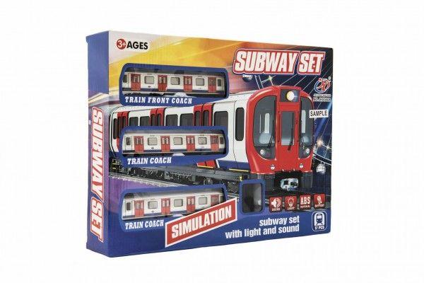 Metro/vlak/tramvaj s kolejemi na baterie se světlem a zvuk