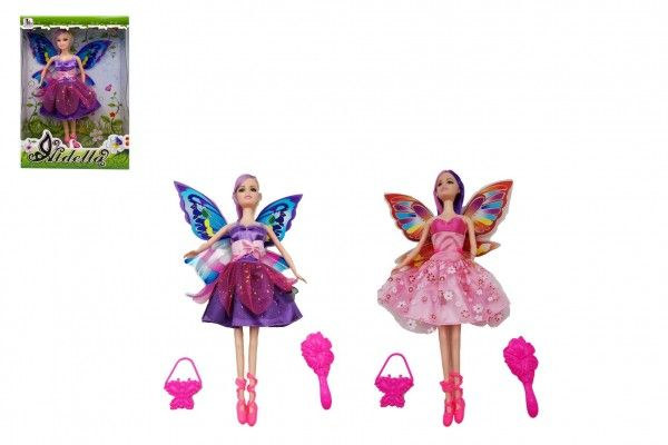 Panenka s křídly nekloubová s doplňky plast 30cm 2 druhy v krabici 20,5 x 32 x 6cm