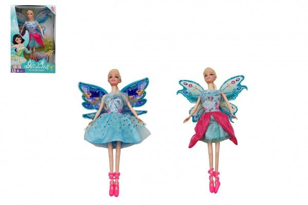 Panenka s křídly nekloubová plast 30cm 2 druhy v krabici 19 x 31 x 6cm