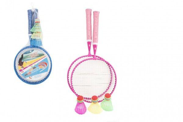 Badminton sada dětská kov/plast 2 pálky + 3 košíčky 2 barvy