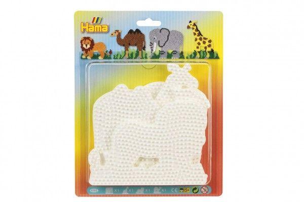 Podložka na zažehlovcí korálky Hama slon,žirafa,lev,velbloud 4ks na kartě 19x24cm