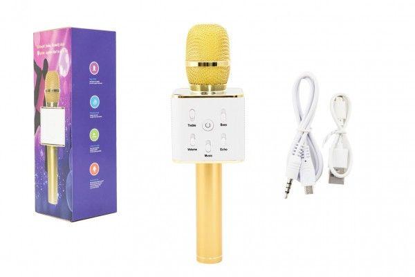 Mikrofon karaoke kov 25cm nabíjení přes USB zlatý