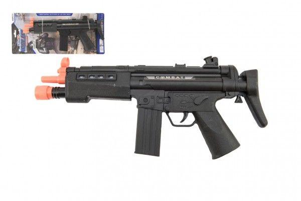 Pistole samopal plast 36cm na baterie se světlem se zvukem na kartě