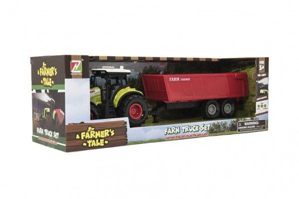 Traktor s vlekem plast 35cm na setrvačník na baterie se zvukem se světlem v krabici 39x13x