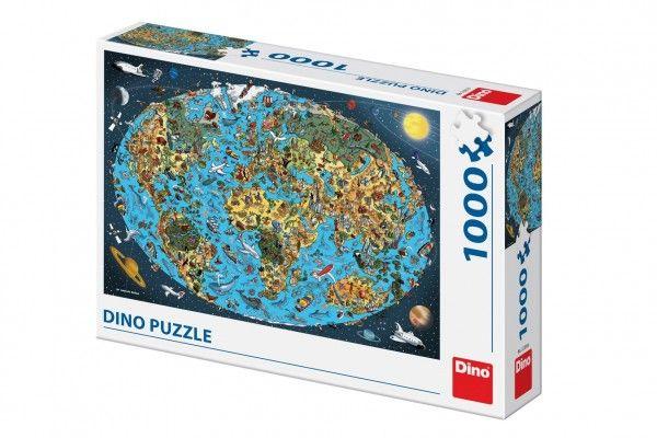 Puzzle Kreslená mapa světa 66x47cm 1000dílků v krabici 32x23x7cm