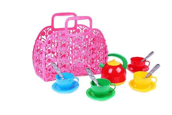 Sada nádobí plast v plastové tašce/kabelce 25x22x11 cm
