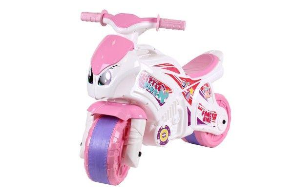Odrážedlo motorka růžovo-bílá plast v sáčku 35x53x74cm 24m+